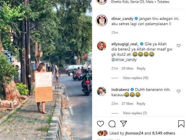 Tangkapan layar Instagram Dinar Candy